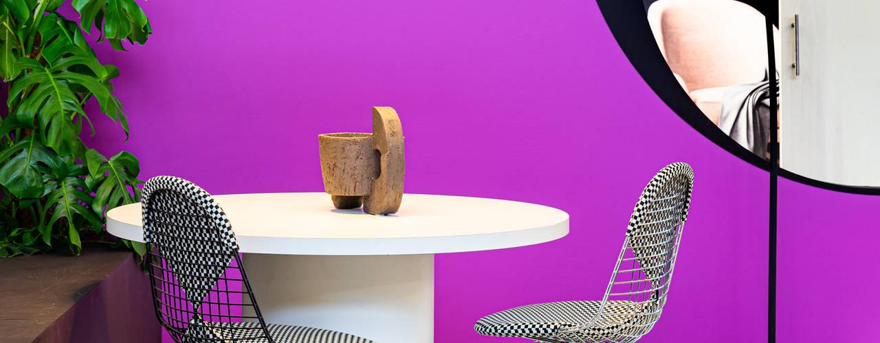 Opvallende kleuren bij het Eigen Huis & Interieur trendpaviljoen Pure & Original Eclectische eetkamers IJzer / Staal Paars / Violet