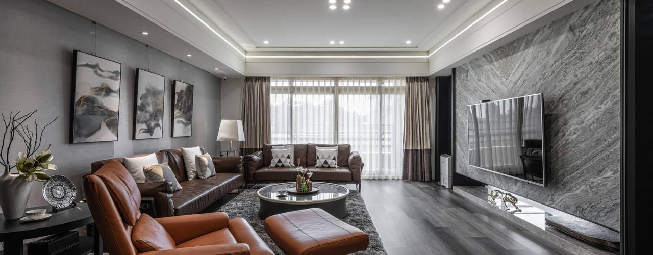 大量採光 讓晝夜有不一樣感受 现代客厅設計點子、靈感 & 圖片 根據 你你空間設計 現代風