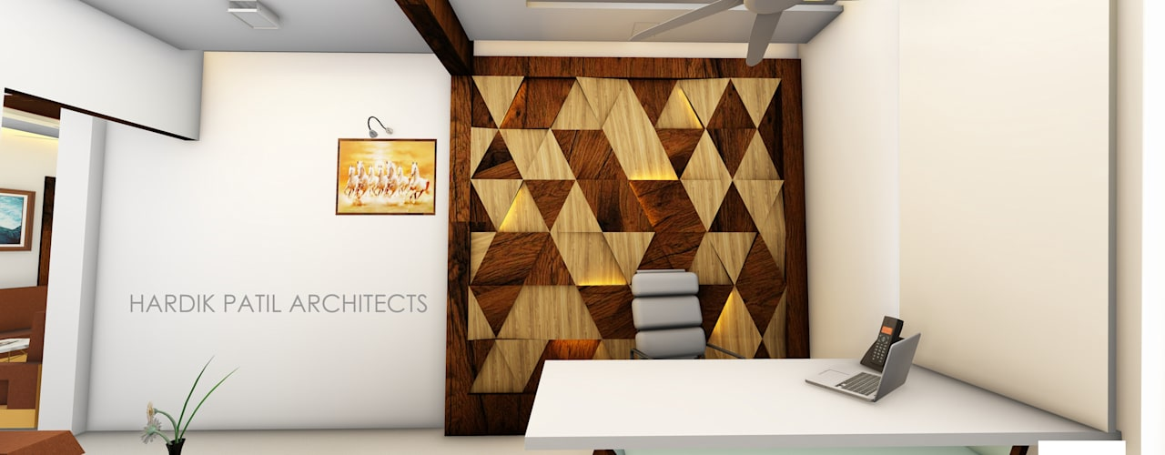 PRIVATE OFFICE AT VIRAR Modern offices & stores by HARDIK PATIL ARCHITECTS Modern