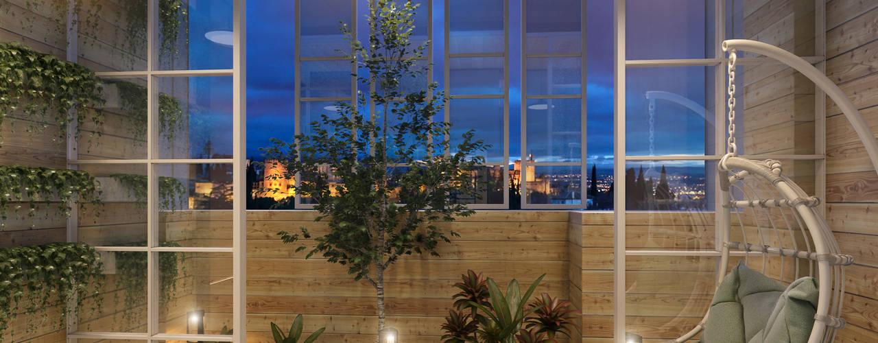 Rustikaler Balkon, Veranda & Terrasse von 木博士團隊/動念室內設計制作 Rustikal