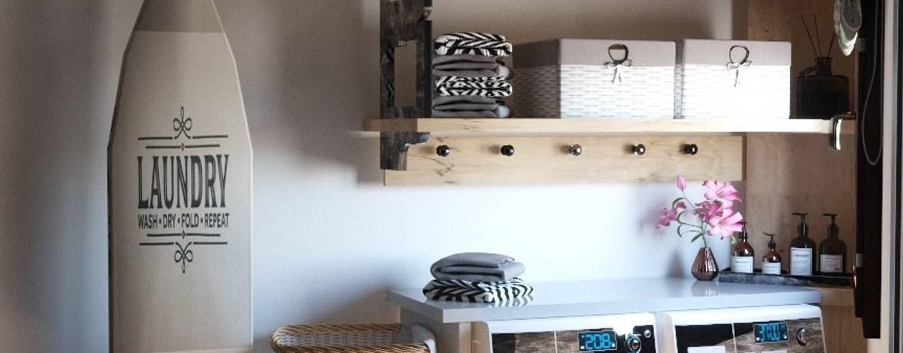 Progettazione Zona Lavanderia RC. Interior Designer Bagno moderno Effetto legno