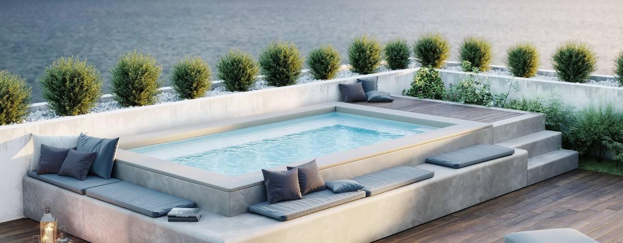 Spaspace è la piscina ideale per il tuo terrazzo Balcone, Veranda & Terrazza in stile moderno di Aquazzura Piscine Moderno