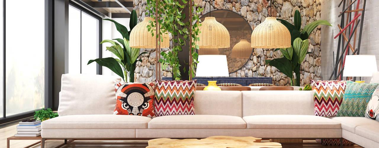 Ethnic House Derya Bilgen Rustik Oturma Odası Ahşap rengi