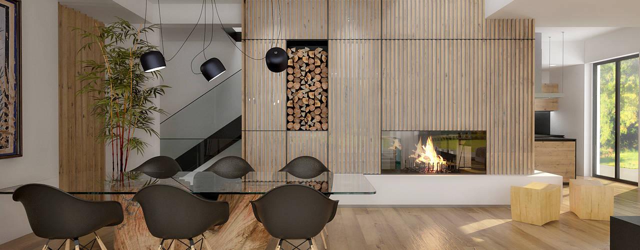 Salones de estilo moderno de ArchSIDE Moderno
