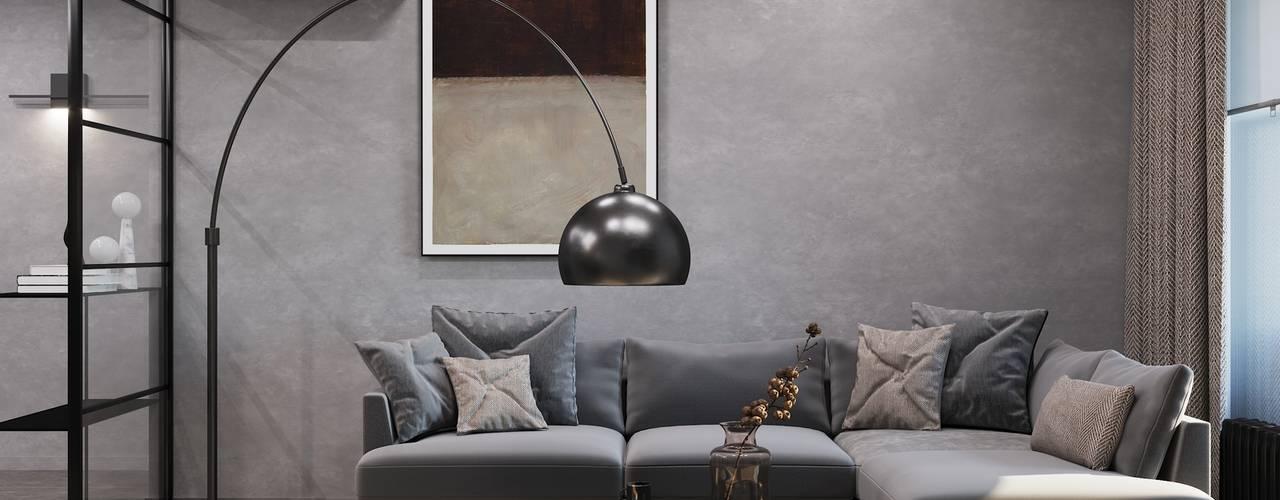 Дизайн квартиры в ЖК Headliner Хедлайнер GM-interior Гостиная в стиле минимализм Серый