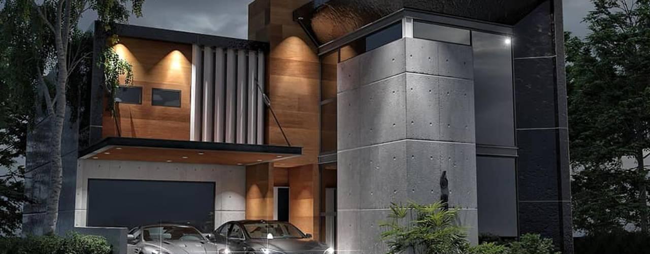 Construcción residencia luxueux render y construcción:  de estilo industrial por AR216, Industrial