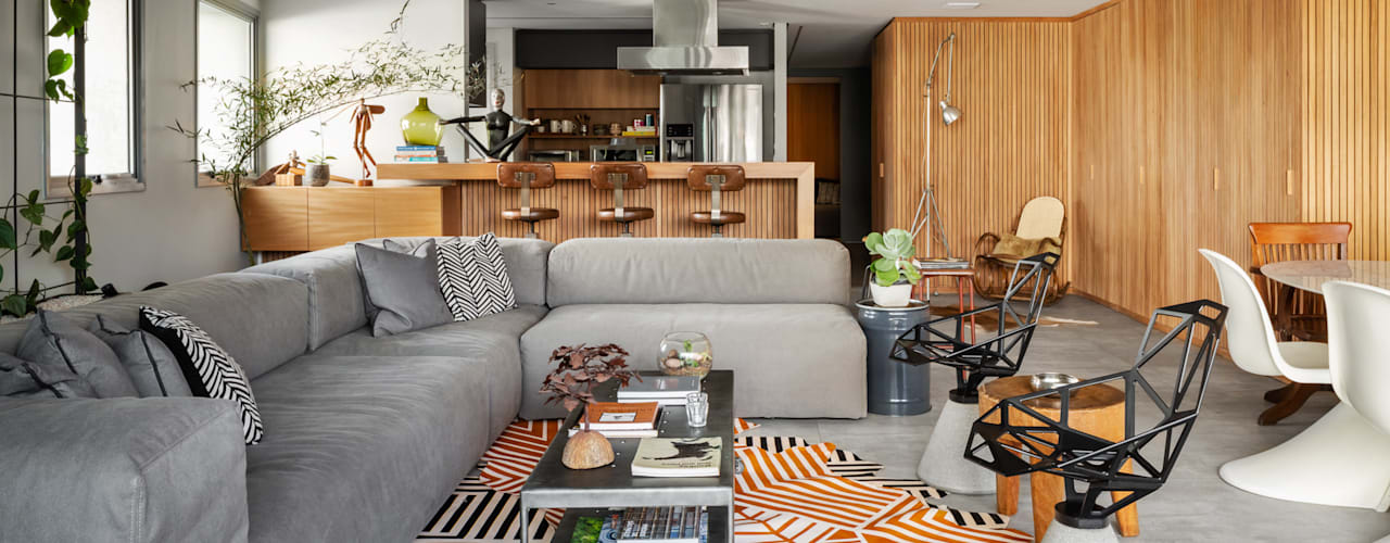 Apartamento Cores neutras e Madeira Salas de estar minimalistas por Saulo Magno Arquiteto Minimalista