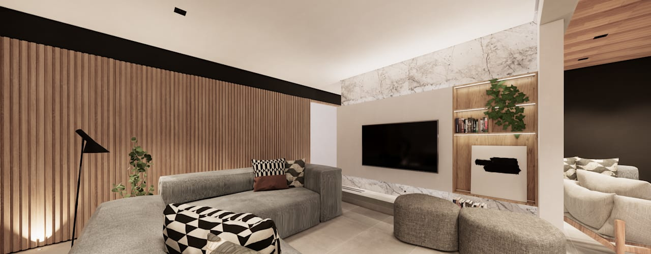 Apartamento Clean com elementos em Madeira Saulo Magno Arquiteto Salas de estar minimalistas Madeira Cinza