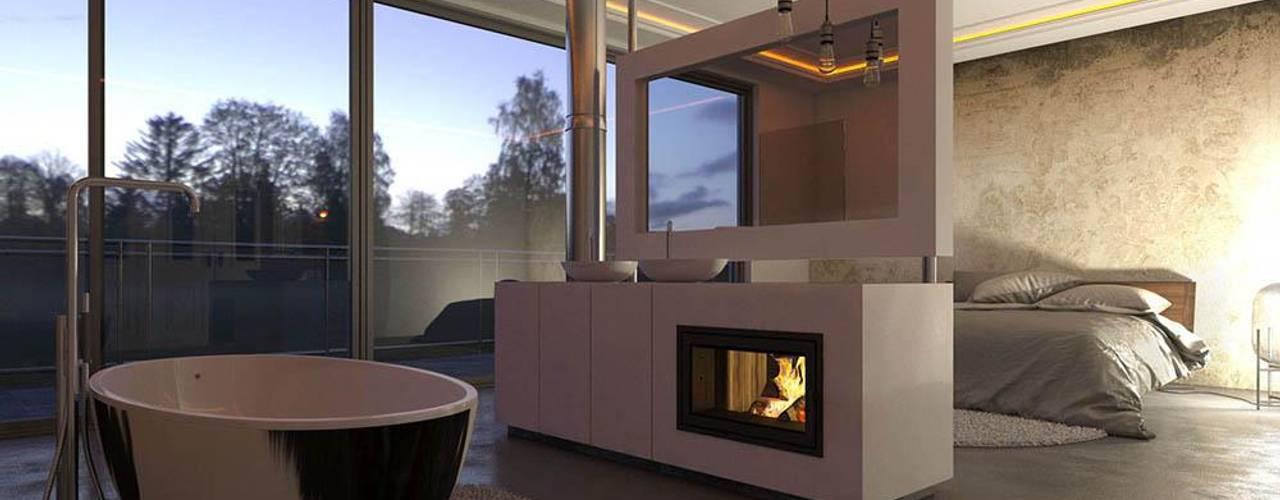.kii10 | Kamin in der Bad und Schlafzimmerkombi Minimalistische Schlafzimmer von kiimoto kamine Minimalistisch