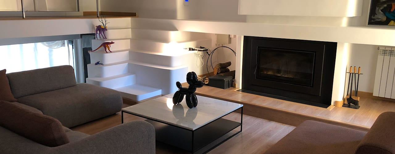 Arquitectura   Casa Amarilla Ana Salomé Branco Salones de estilo minimalista Mármol Blanco