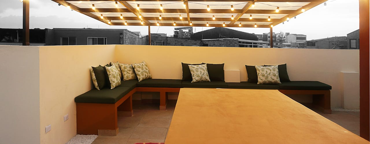 TERRAZA TikTAK ARQUITECTOS Salas de estilo rústico Concreto Amarillo