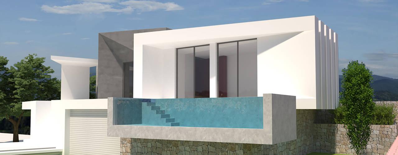 Vivienda unifamiliar aislada con piscina. Barreres del Mundo Architects. Arquitectos e interioristas en Valencia. Casas unifamilares Hormigón Blanco