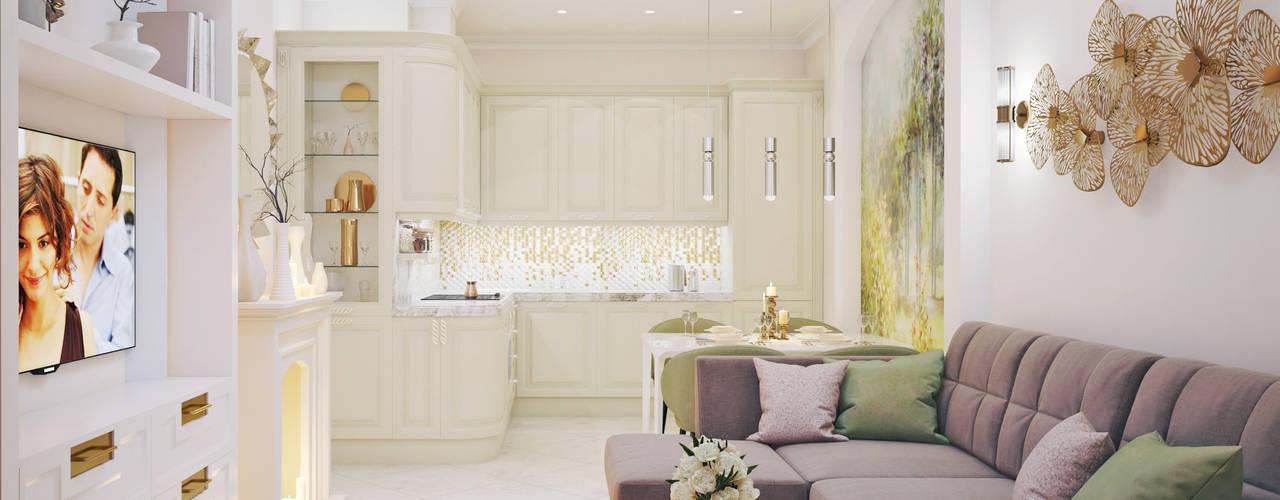 Квартира-сад в ЖК «Символ». Гостиная в классическом стиле от Андреевы.РФ Классический