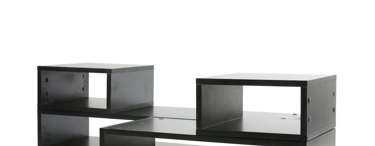 KIT2 TUS MUEBLES MODULARES SalasMesas de centro y auxiliares Aglomerado Negro