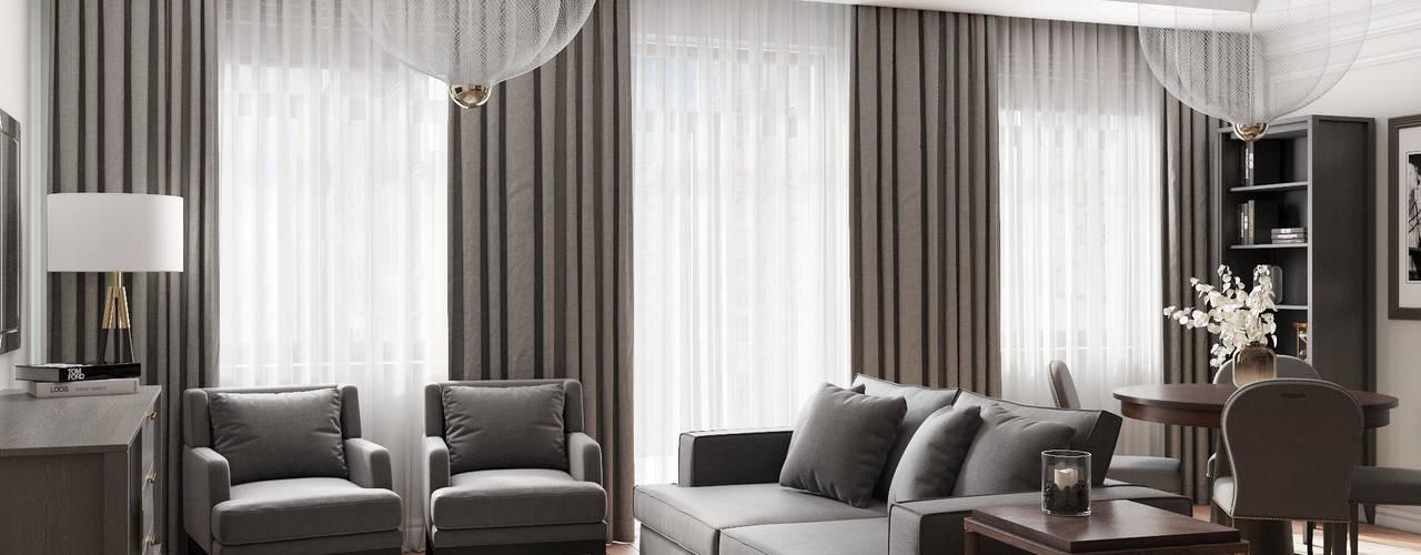Квартира для молодой семьи в Ялте Гостиная в классическом стиле от МосАрх.рф Классический