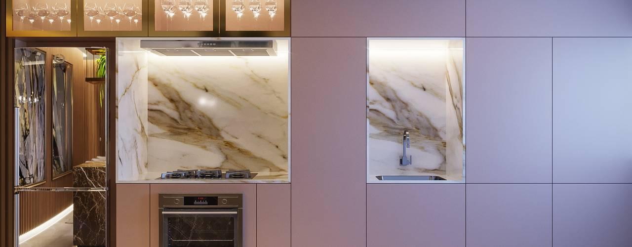 Apartamento   EY Camila Pimenta   Arquitetura + Interiores Armários e bancadas de cozinha Madeira Rosa