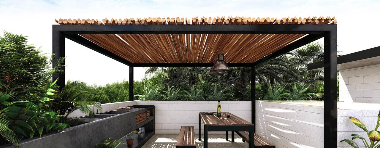 Live Tulum Indigo Diseño y Arquitectura Balcones y terrazas tropicales Concreto Marrón