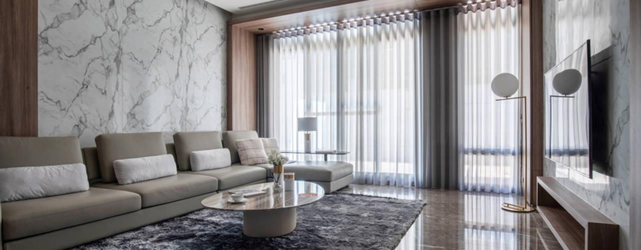 Eternal Moon - Residential Interior Design 现代客厅設計點子、靈感 & 圖片 根據 勻境設計 Unispace Designs 現代風