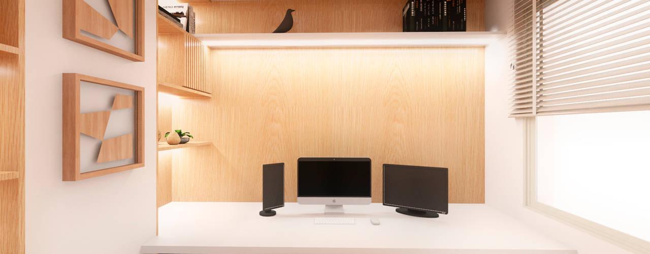 Home Office Compacto Clean e Funcional Escritórios modernos por Mirá Arquitetura Moderno
