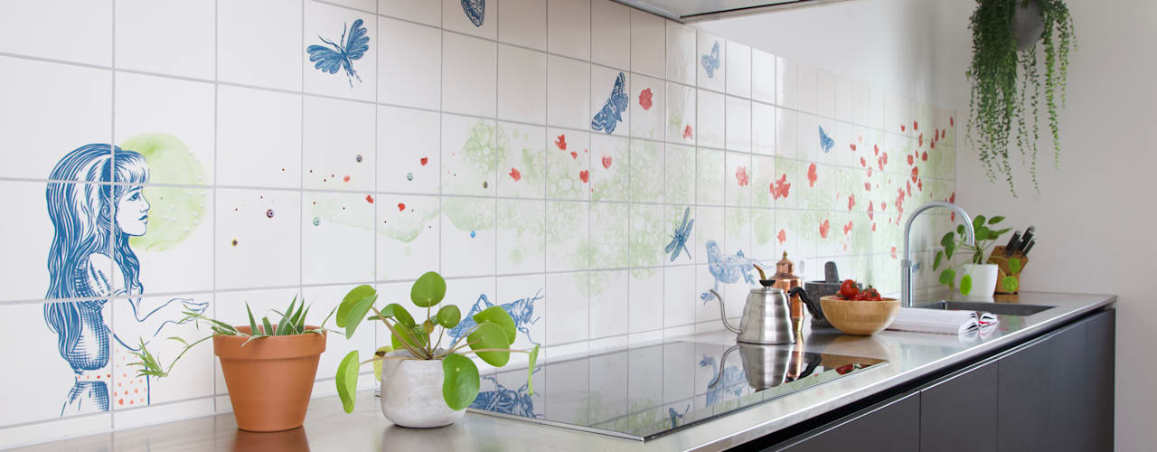 meisje met dieren en bloemen José den Hartog Eclectische keukens Tegels Groen