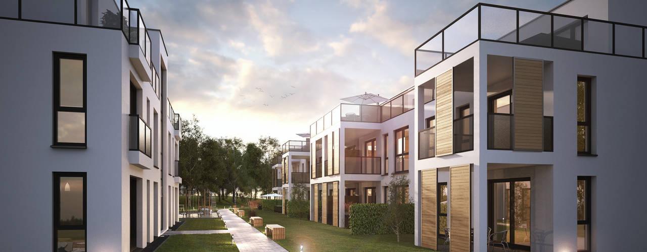 Modernes Mehrfamilienhaus Architekturvisualisierung Matzerath Reihenhaus