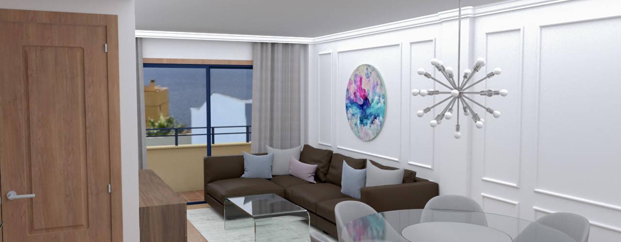 Reforma Parcial de Vivienda en Acorán Salones de estilo moderno de Rediarq Interiorismo Moderno