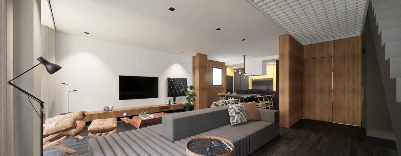 Apartamento Neutro em Contrastes e Madeira Salas de estar minimalistas por Saulo Magno Arquiteto Minimalista