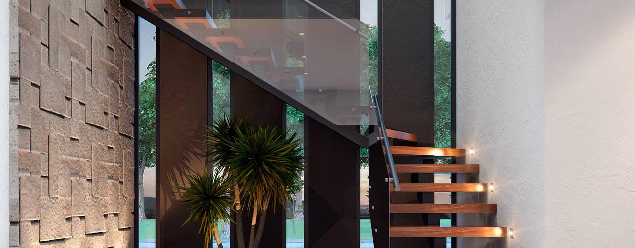 Casa GA Pasillos, vestíbulos y escaleras modernos de Constructora OCC Moderno