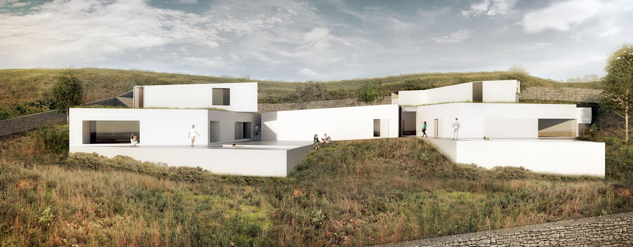 Casas em Pé do Cerro, Faro AAP - ASSOCIATED ARCHITECTS PARTNERSHIP Casas unifamilares Branco