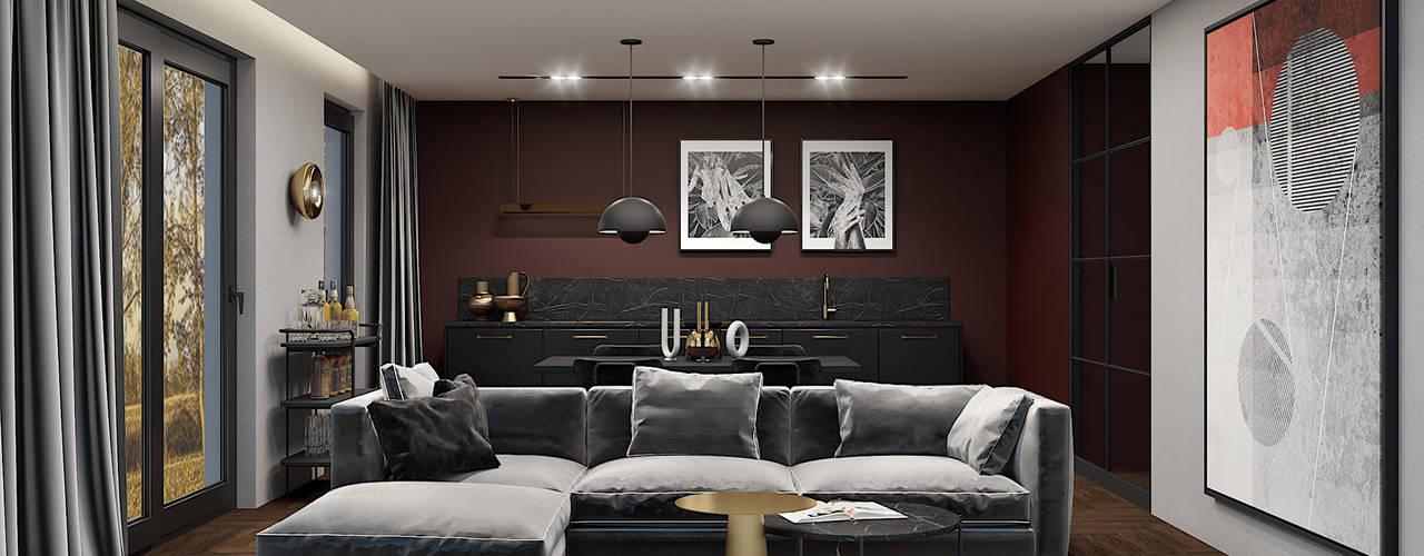 Burgundowy apartament Nowoczesny salon od Wonderspace Nowoczesny
