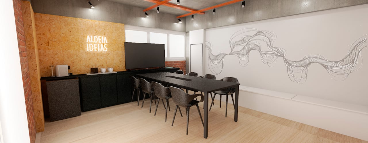 Escritório Moderno, industrial e aconchegante Escritórios industriais por Mirá Arquitetura Industrial
