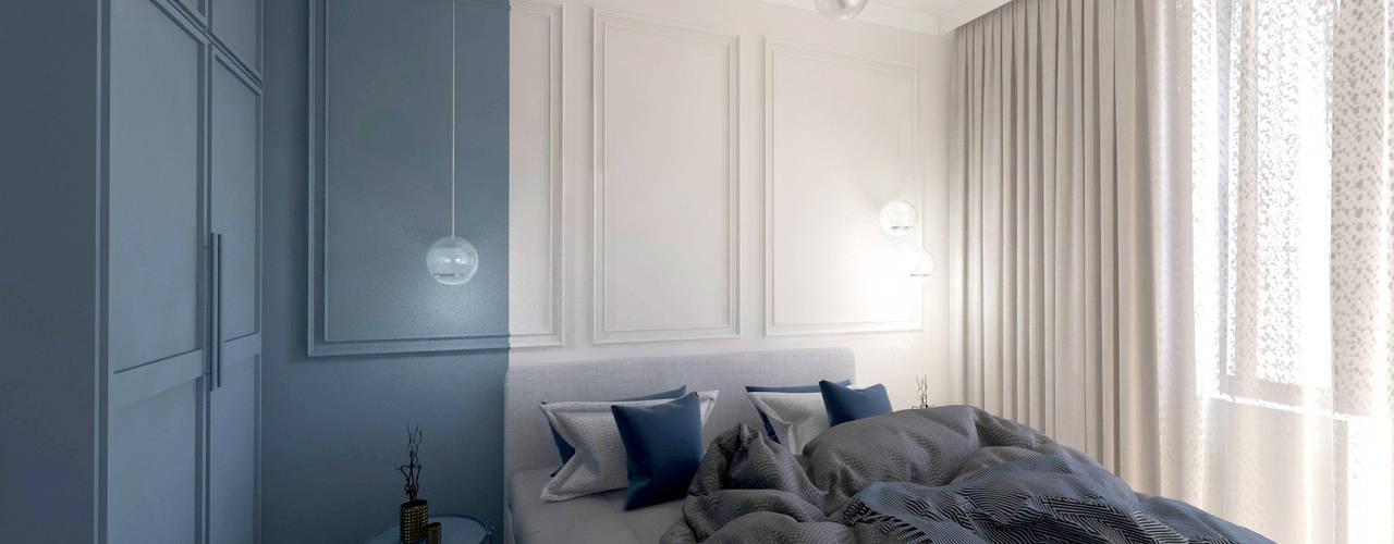 LUKSUSOWY APARTAMENT W ZAKOPANEM 45 M2 Studio4Design Nowoczesna sypialnia Deski kompozytowe Niebieski