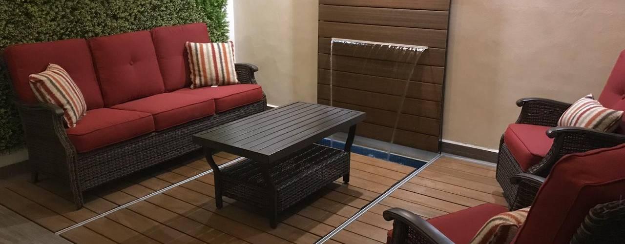 Alberca en verano , terraza en invierno Tek Products Monterrey Albercas modernas Plástico