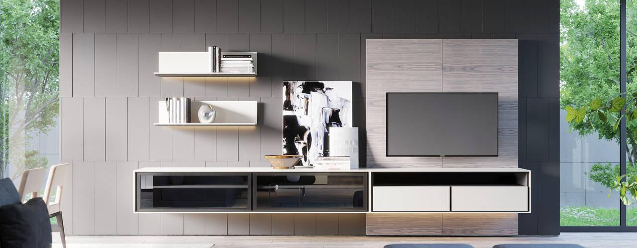 MODE parete componibile ITALIANELEMENTS SoggiornoSupporti TV & Pareti Attrezzate MDF Bianco