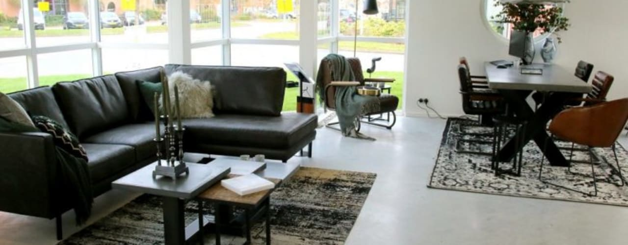 Showroom woonbetonvloer Woodstock Vloeren Vloeren Beton Grijs