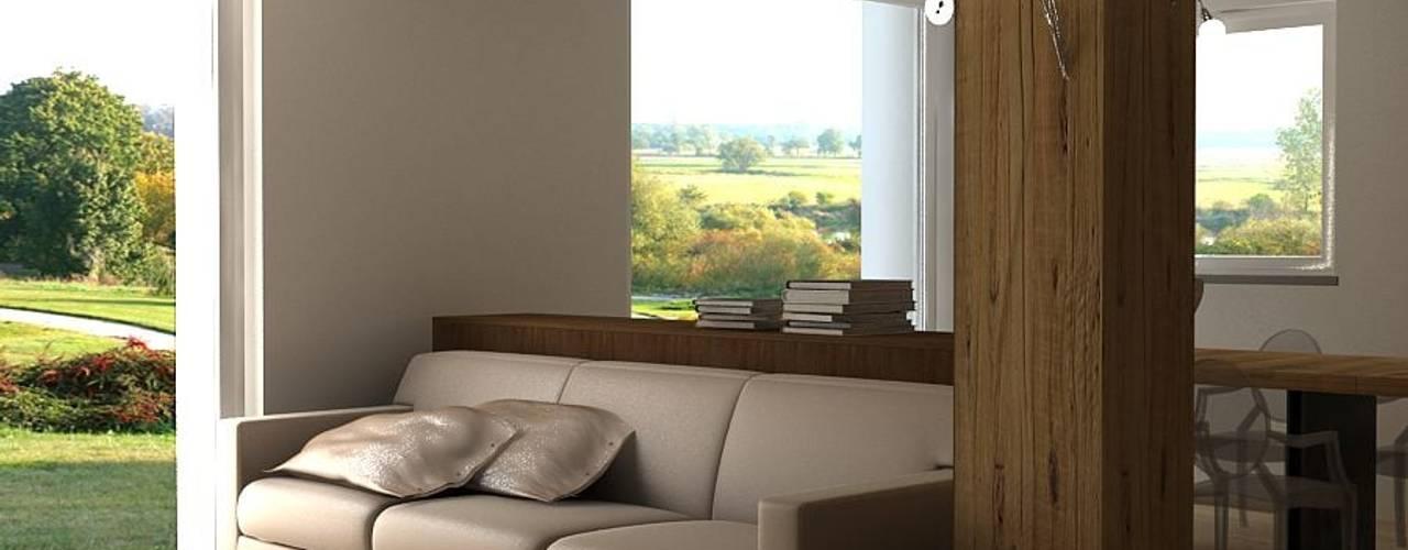 Render ambiente living e sala da pranzo Soggiorno moderno di CLARE studio di architettura Moderno