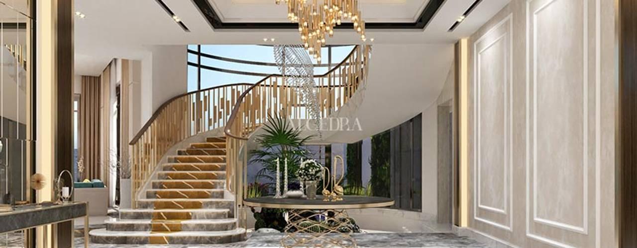 أفكار تصميم مدخل فيلا Algedra Interior Design الممر الحديث، المدخل و الدرج