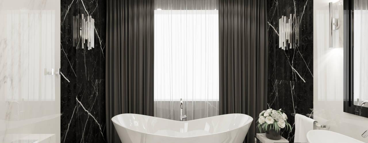 Wkwadrat Architekt Wnętrz Toruń Modern style bathrooms Marble Metallic/Silver