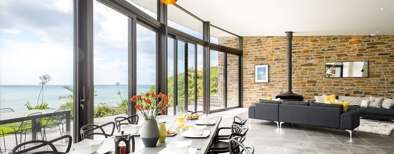 Sustainable Coastal Home in Cornwall Arco2 Architecture Ltd Nowoczesna jadalnia