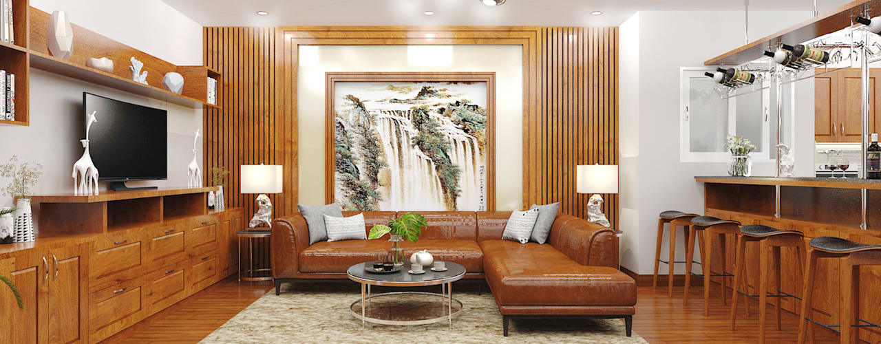 NHÀ ANH HẬU Công ty TNHH Thiết Kế Xây Dựng Xanh Hoàng Long Living roomTV stands & cabinets Wood effect