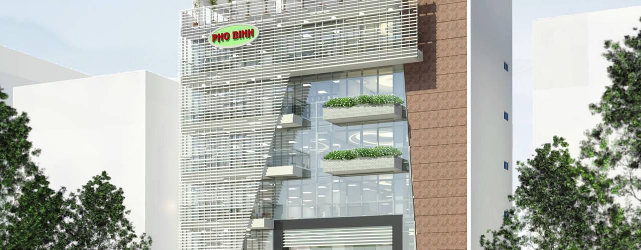 VĂN PHÒNG PHỔ BÌNH Công ty TNHH Thiết Kế Xây Dựng Xanh Hoàng Long Tòa nhà văn phòng Kim loại White