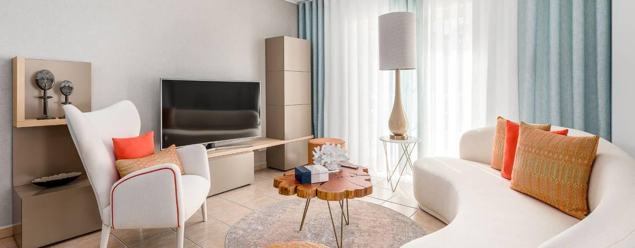 Apartamento T2 duplex - Cabanas de Tavira Propriété Générale International Real Estate Salas de estar modernas