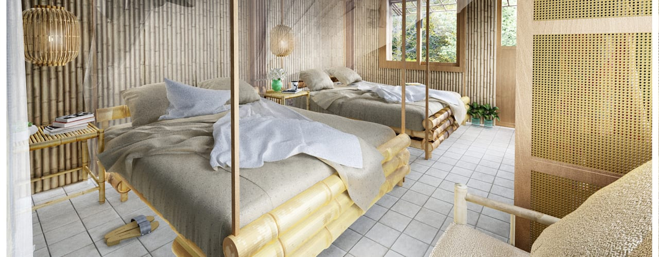 HOMESTAY AN GIANG Công ty TNHH Thiết Kế Xây Dựng Xanh Hoàng Long BedroomBeds & headboards Tre Wood effect