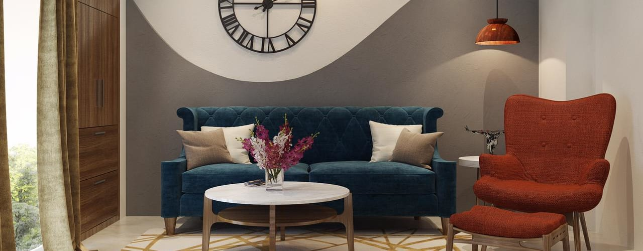 Beautiful house in Gulshan Vivante Noida sector 137 Lakkad Works Modern living room Turquoise