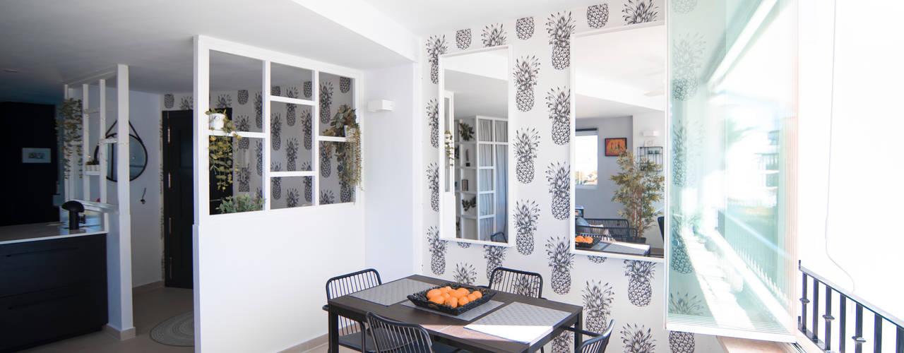 Proyecto de vivienda / reforma y renovación en Polaris la Torre en Murcia de 75 metros cuadrados Arquitectura Buendía Balcones y terrazas de estilo moderno Cerámico Gris