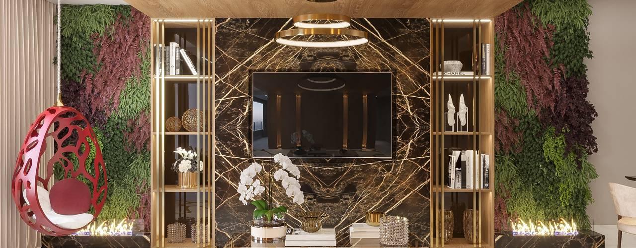 Projeto Apartamento em Salvador - BA Camila Pimenta | Arquitetura + Interiores Salas de estar modernas Madeira Bege