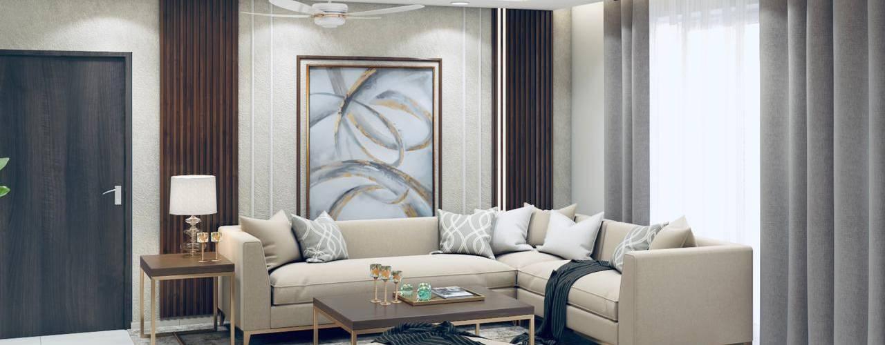 A 2 BHK home in Mirabella Noida Lakkad Works Modern living room