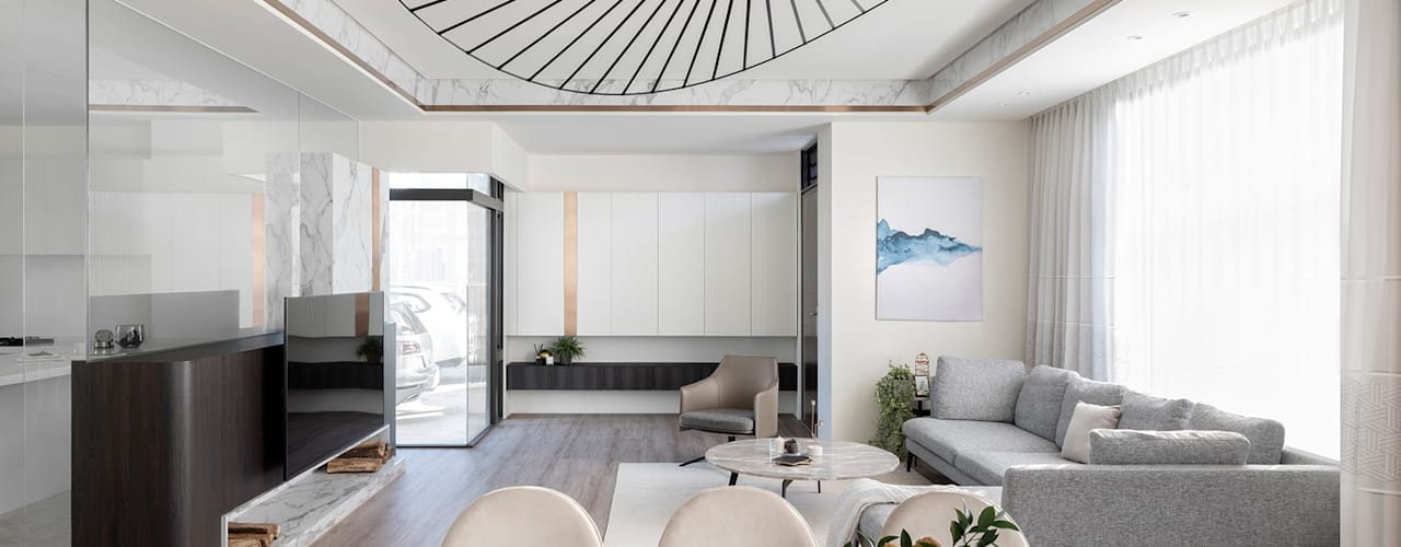 時光相視 漢玥室內設計 客廳沙發與扶手椅 亞麻織品 Grey