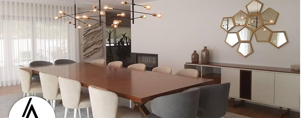 Projeto - Arquitetura de Interiores - Moradia EA Areabranca Salas de jantar modernas