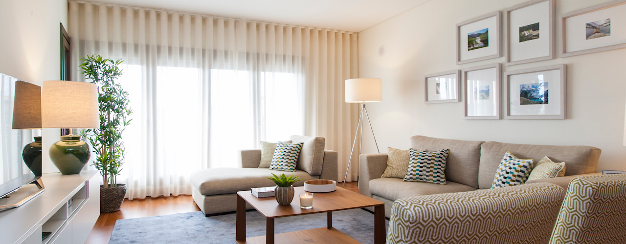 Apartamento c/ 1 quarto - Colinas do Cruzeiro, Odivelas Traço Magenta - Design de Interiores Salas de estar modernas